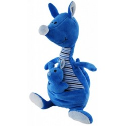 Kangaroo  with Baby Blue Nursery Plush Toy by Elka