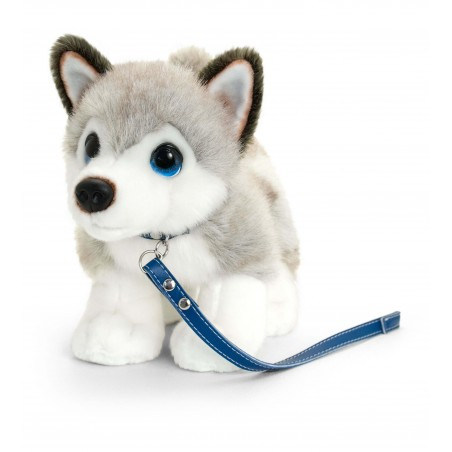 Border Collie 30cm plush toy on lead by Keel Toys