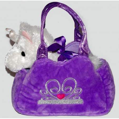 Unicorn Fancy Pals stuffed plush toy in Purple Carry bag by Korimco
