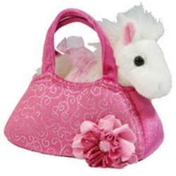 Fancy Pals Pony plush toy in Pink carry bag by Korimco