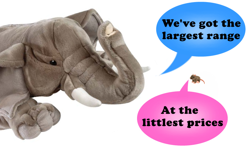 Largest range of plush toys and the littlest prices
